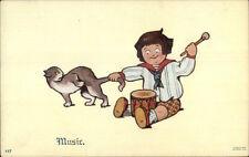 Child Banging Drum & Yanking Kitty Cat's Tail MUSIC c1910 Postcard