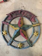 """16"""" Barn House Star Metal Western Wall Decor Rustic Welcome Round"""