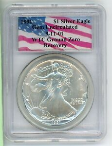 1991 PCGS WORLD TRADE CENTER RECOVERY WTC SILVER EAGLE GEM UNCIRCULATED