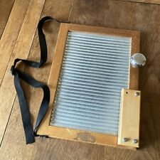 Vintage Skiffle Washboard Wood & Galvenised Metal With Strap, Bell, Rhythm Block