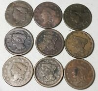 Large Cents 1800's Coronet Braided Hair DIFFERENT DATES US Copper Coin Lot A215