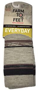 FARM TO FEET King Made in USA Merino Wool Blend Casual Socks Light Gray L *NWT*