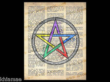 PENTACLE 10 x 8 DICTIONARY WORD ART PRINT wicca poster altar book of shadows bos