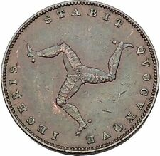 Isle of Man 1839 VICTORIA United Kingedom Farthing Triskeles Antique Coin i52775