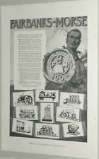 1920 FAIRBANKS MORSE advertising page, engines, scales, rail car, coal tower etc