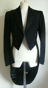 "Vintage black wool tailcoat tail coat bespoke tailored formal wear dance 34-36"""