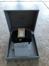 LALIQUE BLACK LEATHER CUFF BRACELET WITH STUNNING CRYSTAL 'HEART CAPTURE' CHARM