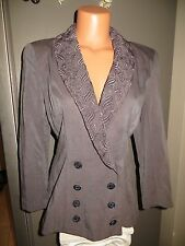 Arpeja Dress jacket. Size 8. Grey with lace and embellished bead buttons.