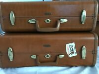 Vtg. 1950's 2 Piece Shwayder Bros. Samsonite Hard Shell Cognac Luggage Set EUC