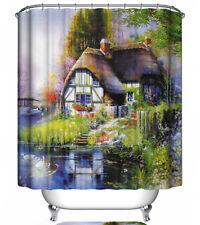 Cottage Shower Curtain 70x70 Kinkade-Style Lake House Swan