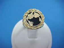 14K YELLOW GOLD LADIES ONYX RING WITH GOLD ROPE FRAME, 4.8 GRAMS, SIZE 7.25
