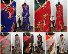 Designer Saree Bollywood Indian Floral Print Sari with Embroidery Lace Border KR