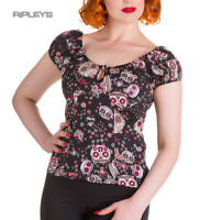 HELL BUNNY Shirt Gypsy Top Sugar SKULL LOVE Flowers Black All Sizes