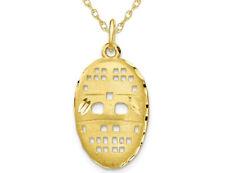 10K Yellow Gold Goalie Hockey Mask Charm Pendant Necklace