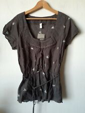 Anthropologie Tiny Brown Floral Embroidered Peplum Top 12 L NWT