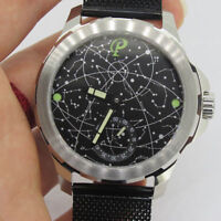 44mm Parnis Hand Winding Movement Men's Casual Watch Mesh Stainless Steel Strap