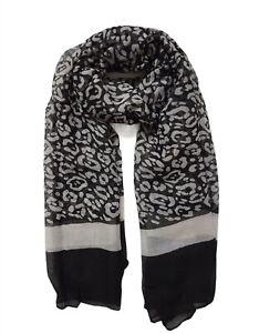 Ladies Women Lightweight Black&White Leopard Print Long Scarf Neck Wrap Shawl
