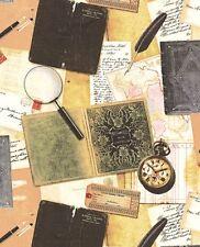 Longfellow Book of Poems Maps Letters Quills Retro Windham Fabrics 1/2 Yard
