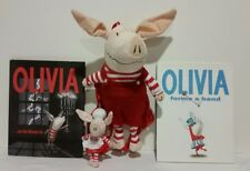"OLIVIA PIG PLUSH BACKPACK W/ 2 BOOK LOT & 2010 6 1/2"" OLIVIA PLUSH"