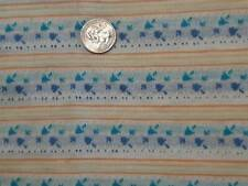 "Vintage Knit Fabric Blue Yellow White Floral Retro Fabric 32"" x 54"" Ships Free"