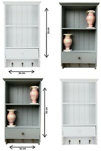 Vintage Shelf Unit With Storage Drawer Wooden 3 Key Hooks Letter Rack Wall Mount
