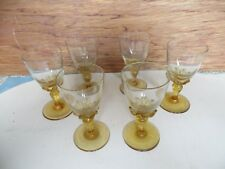 Vintage Set of 6 Sherry Glasses with amber glass base
