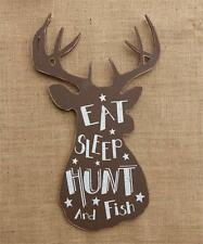 SALE/  Rustic new large Deer head wall plaque / EAT, SLEEP, HUNT and FISH / nice