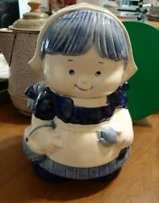 "Vintage Delft Blue Hand Painted  9"" Little Dutch Girl Cookie Jar"