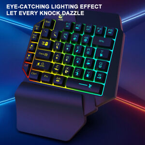Create One-Handed  Mechanical Feel 35 Keys RGB LED Backlight  Gaming Keyboard