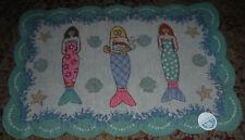 "NEW Suzanne Nicoll Folk Art MERMAIDS Canvas Rug Wall Art NEW w/ tag 40"" x 26.5"""