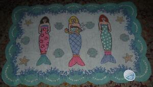 "Suzanne Nicoll Folk Art Mermaids Canvas Rug Wall Art Decor NEW w/tag 40"" x 26.5"""