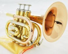 Top Quality Mini / Pocket Trumpet Gold Brass Horn Large Bell New / Case