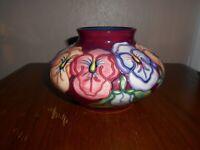 "Moorcroft vase - 32/5 - Pansy - Rachel Bishop - 5"" / 12cm Tall"