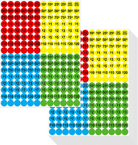 3840 PCs Garage Sale Flea Market Prepriced Pricing Stickers in Bright Colors