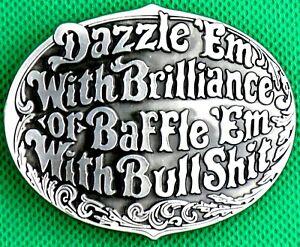 "Belt Buckle ""DAZZLE E'M"" Custom Made to fit 4 cm Belt, DIY,Metal Casting Buckle."
