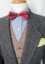 Vtg HARRIS TWEED Wool Blazer 38 S ~ jacket HOUNDSTOOTH sport coat IVY Preppy