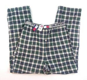 VTG 90s Tommy Hilfiger Waist Logo Sleepwear NWT Plaid Green Pajama Pants sz XL