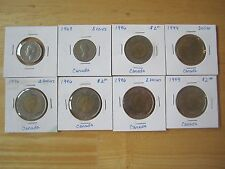 Canada Coin Lot:  Total 8 coins, 1951-1996, Nickel to 2 Dollars.
