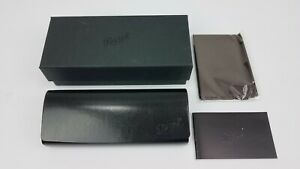 New Authentic persol black leather sunglasses hard case cleaning cloth with box