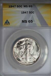 1947  .50   ANACS   MS 65   Walking Liberty, Half Dollar, Lady Liberty Half