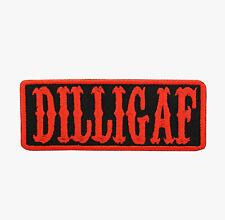 DILLIGAF Orange Motorcycle Biker Vest Patch