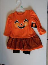 3-6 Months Baby Orange & Black Pumpkin Dress & Pants Halloween Costume