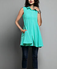 Turquoise Sleeveless Collared Button-Down Tunic - Women XL