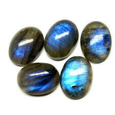A PAIR OF 10x8mm OVAL CABOCHON-CUT NATURAL AFRICAN LABRADORITE GEMSTONE