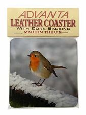Robin on Snow Wall Single Leather Photo Coaster Animal Breed Gift, AB-R15SC