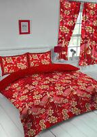 KING SIZE DUVET COVER SET HERON RED GOLD FLORAL REVERSIBLE BEDDING SET