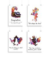 "Alice In the Wonderland Set of 4 - 8""x10"" Wall Art Decor Prints Poster, Unframed"