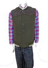 Men PARISH NATION Olive Snap On Winter Vest faux leather on shoulders size XL
