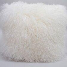 "Handmade Mongolian Fur 24""x24"" Square White Pillow Cushion 60X60cm & fabric back"