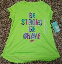 NWT Skechers Girls' Short Sleeve Graphic Active Tee size 7/8 lime green